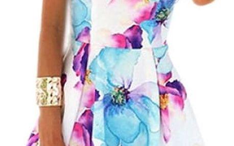 Dámské šaty bez rukávů s květinovým motivem