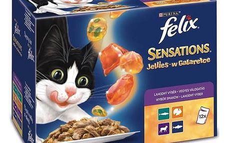 Felix FELIX Sensations výběr v ochuceném želé s jehněčím, makrelou, treskou a krůtou 12x100g