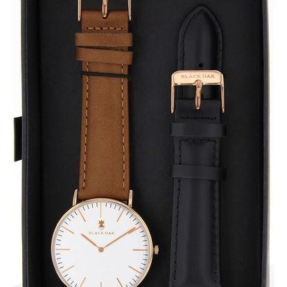 Set hnědých pánských hodinek s řemínky Black Oak Minimal - doprava zdarma!