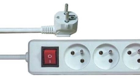 Kabel prodlužovací EMOS 3x zásuvka, 5m, vypínač (HE1315 (E1315)) bílý
