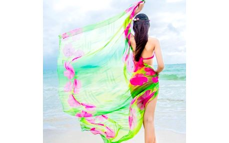 Plážové pareo s motivy velkých květin - 3 barvy