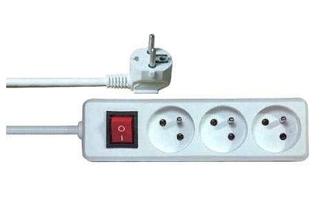 Kabel prodlužovací EMOS 3x zásuvka, 5m, vypínač (1902130500) bílý