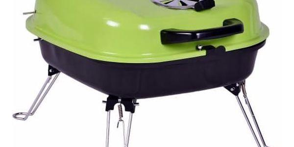 Kufříkový gril na dřevěné uhlí Gart - zelený3