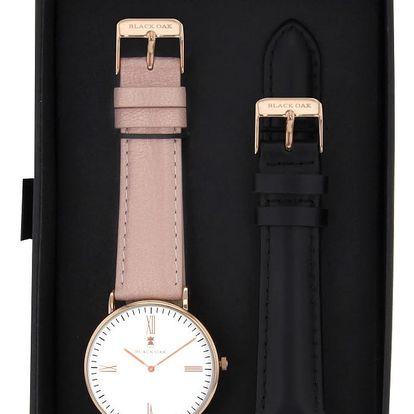 Set pudrových dámských hodinek s řemínky Black Oak Rose - doprava zdarma!