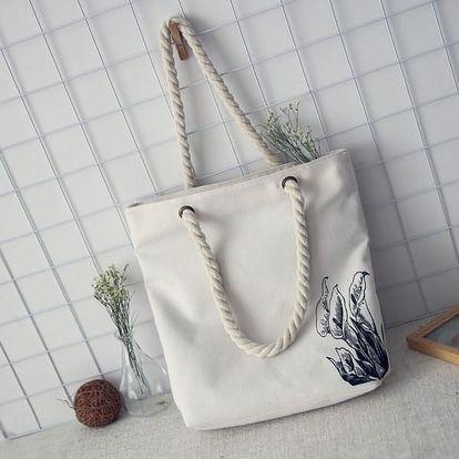 Populární plátěná taška se zajímavým potiskem - Květina