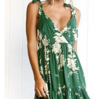 Zelené šaty s hlubokým výstřihem Ruby