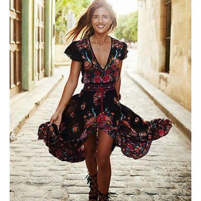 Dlouhé šaty s asymetrickou sukní a červeným květovaným vzorem - velikost 5 - dodání do 2 dnů