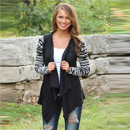 Dámský cardigan - barevné rukávy - černý, vel. 5