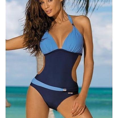 Jednodílné plavky v atraktivních barvách - Modrá-velikost č. 4