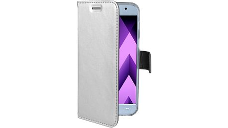 CELLY Air Pouzdro typu kniha pro Samsung Galaxy A3 (2017), PU kůže, stříbrné - AIR643SV