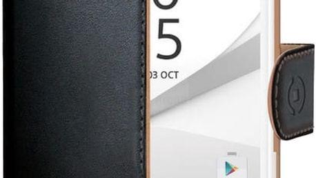CELLY Wally pouzdro pro Sony Xperia Z5 Compact, PU kůže, černá - WALLY522
