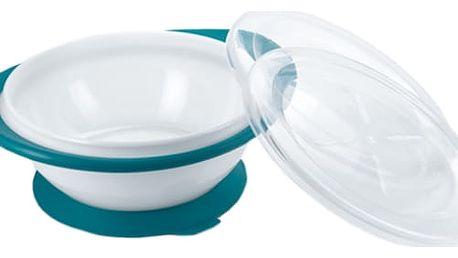 NUK EL Dětská miska se 2 víčky a přísavkou – modrá