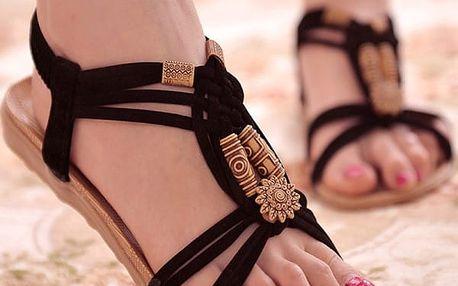 Dámské letní sandálky v ležérním bohémském stylu - černé, vel. 37