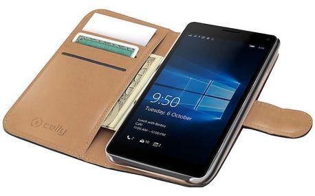 CELLY Wally pouzdro pro Microsoft Lumia 950, PU kůže, černá - WALLY523