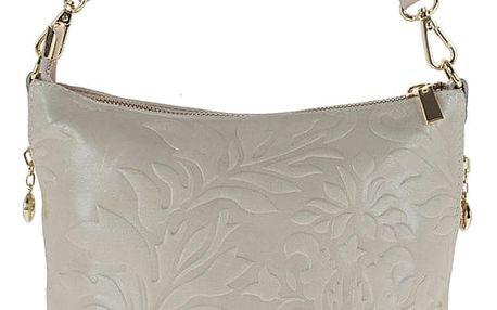 Béžová kožená kabelka Giulia Bags Misty - doprava zdarma!