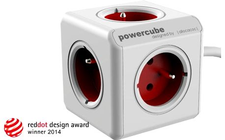 PowerCube EXTENDED prodlužovací přívod 3m - 5ti zásuvka, červená