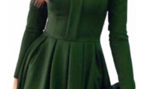 Elegantní šaty s dlouhým rukávem a krajkou - Zelená - velikost č. 5