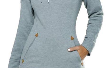 Teplákové šaty s dlouhým rukávem a kapucí - 5 barev