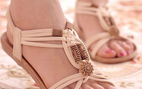 Dámské letní sandálky v ležérním bohémském stylu - bílé, vel. 40