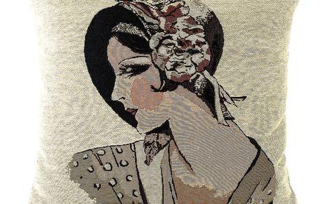 BO-MA Trading Povlak na polštářek Gobelín žena v klobouku, 45 x 45 cm