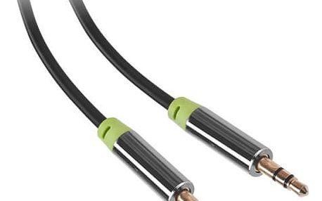 Kabel GoGEN Jack 3,5mm, 1,5m, pozlacené konektory (GOGJACK150MM01) černý