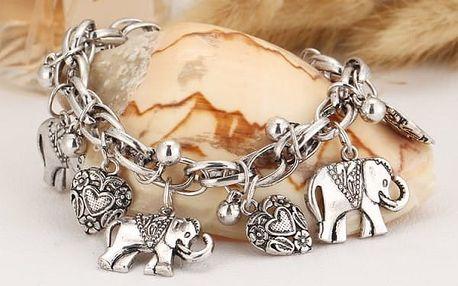 Náramek pro štěstí se sloníky a srdíčky