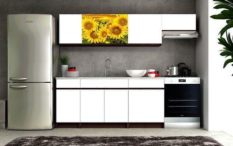Eliza 2 - Kuchyňský blok (wenge/bílá/travertin tmavý/slunečnice)