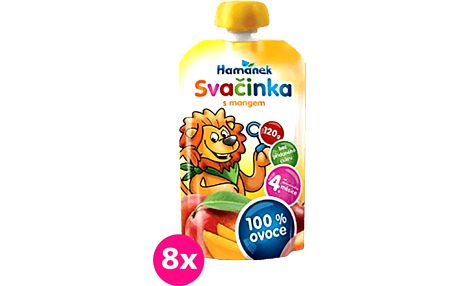 8x HAMÁNEK Svačinka 100% ovoce s mangem, (120 g) - ovocný příkrm