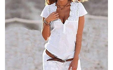Mini bílé šatičky s krajkou a hlubokým výstřihem - velikost 3