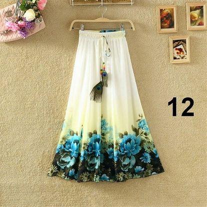Lehoučká dlouhá sukně na jaro i léto - varianta 12