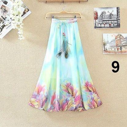 Lehoučká dlouhá sukně na jaro i léto - varianta 9
