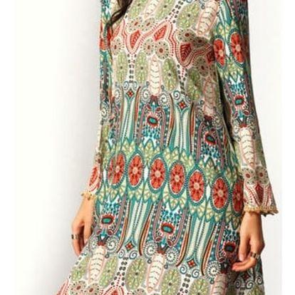 Dámské šaty s barevnými motivy a dlouhým rukávem - zelené, vel. 5