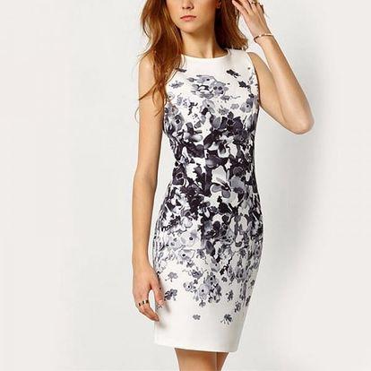 Dámské šaty s květinami - bílé - 2