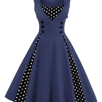Retro šaty s puntíky - Modrá - velikost č. 4