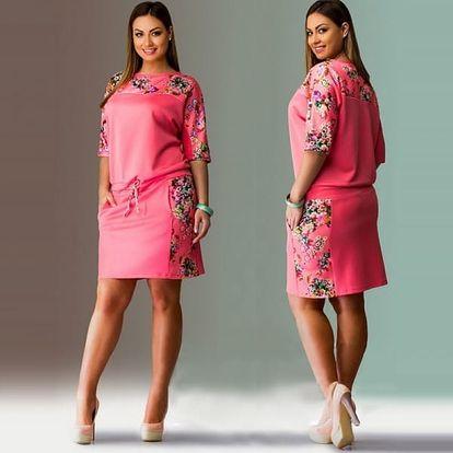 Jarní šaty volnějšího střihu pro plnější postavy - Růžová - velikost č. 5