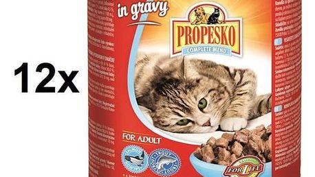 Konzerva Propesko kousky kočka losos a pstruh v omáčce 12 x 830g