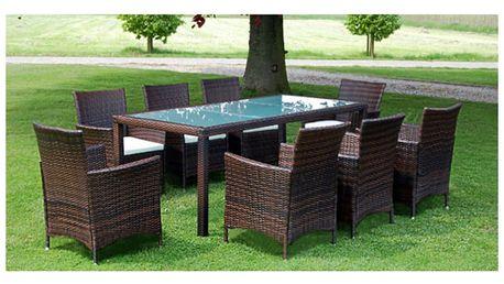 Set zahradního ratanového nábytku hnědý, 8 židlí a stůl V1750 Dekorhome