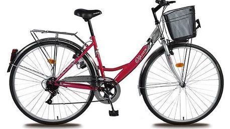 """Trekové kolo Olpran Mercury Lux 28"""" stříbrné/růžové + Reflexní sada 2 SportTeam (pásek, přívěsek, samolepky) - zelené v hodnotě 58 Kč + Doprava zdarma"""