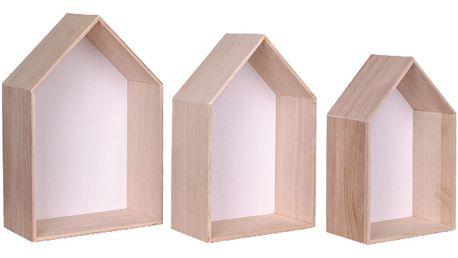 Sada 3 bílých dřevěných polic House Nordic Verona - doprava zdarma!