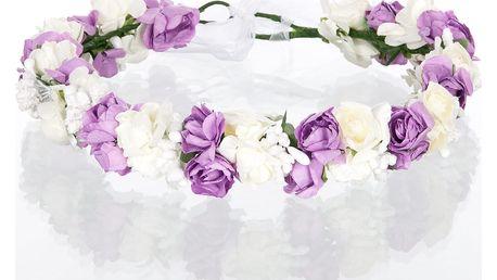 Čelenka do vlasů - květinový věneček růže