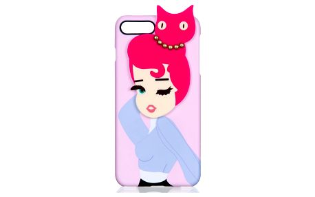 WishWay Fashion kryt na mobilní telefony Pink Cat in Hair Iphone 6 plus