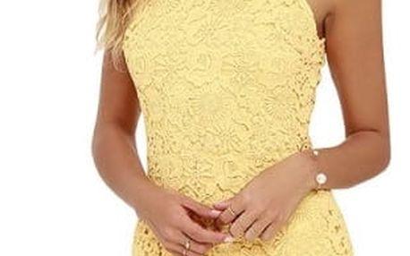 Krajkové mini šaty s obojkem - Žlutá - Velikost 3