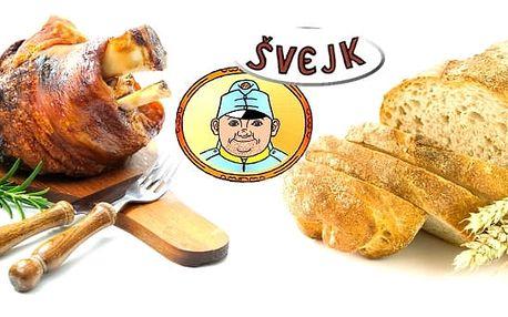 1,5kg pečené vepřové koleno s oblohou pro 2-4 osoby, k tomu bohatá obloha v podobě křenu, hořčice, kysaného zelí a 6 kousků chleba v restauraci Švejk ve Strašnicích. Toto jídlo patří k naprostým delikatesám, přijďte ho tedy ochutnat i vy.