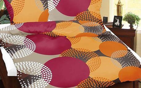 Bellatex Saténové povlečení Lucie Kola barevná, 140 x 200 cm, 70 x 90 cm