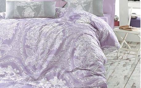 Povlečení 100% bavlna Adeline šedo/fialová se dvěma povlaky na polštář