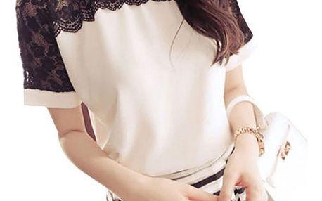 Elegantní dámská halenka s krajkou a krátkým rukávem - Růžová ve velikosti 6