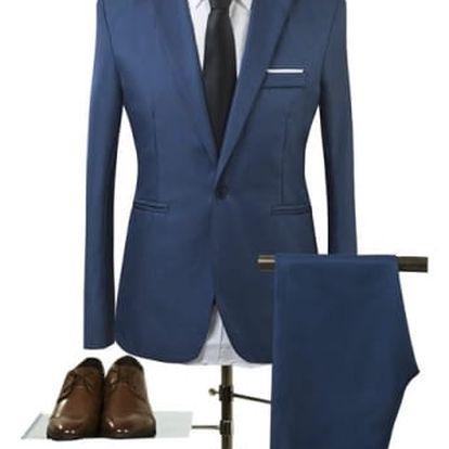 Pánský společenský oblek - barva námořní modř, vel. 5