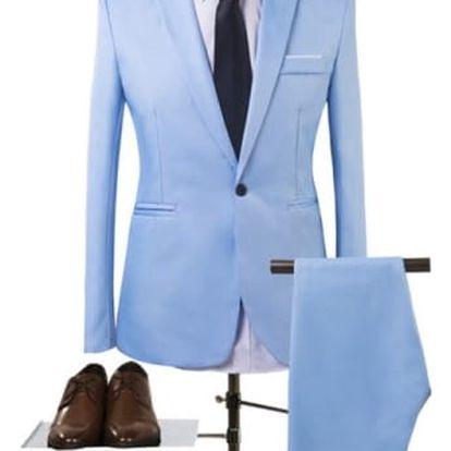 Pánský společenský oblek - nebeská modrá, vel. 3