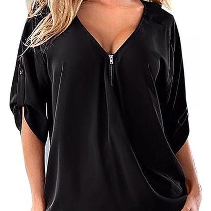 Stylový top se zipem pro ženy - černá - velikost 3