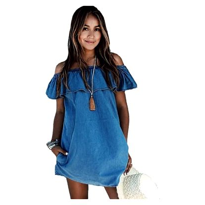 Džínové šaty s volánem - velikost č. 4